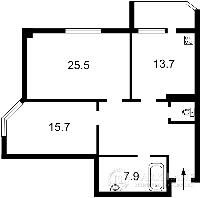 Квартира ул. Гетьмана Вадима (Индустриальная), 1в, Киев, Z-69035 - Фото 2