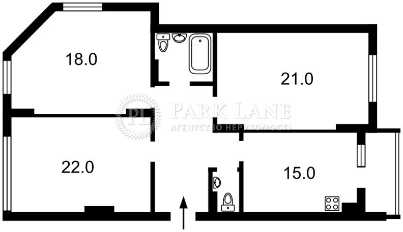 Квартира Коломыйский пер., 17/31а, Киев, Z-561294 - Фото 2