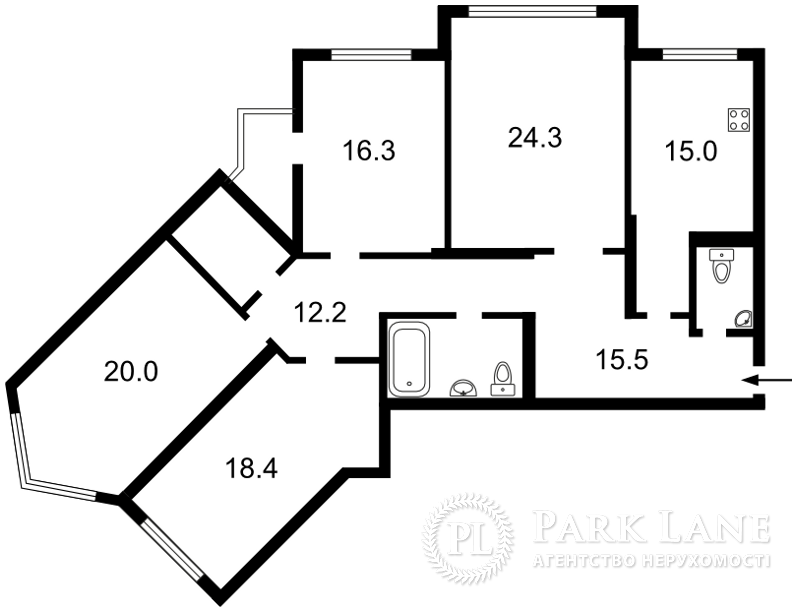 Квартира ул. Срибнокильская, 1, Киев, B-94394 - Фото 2