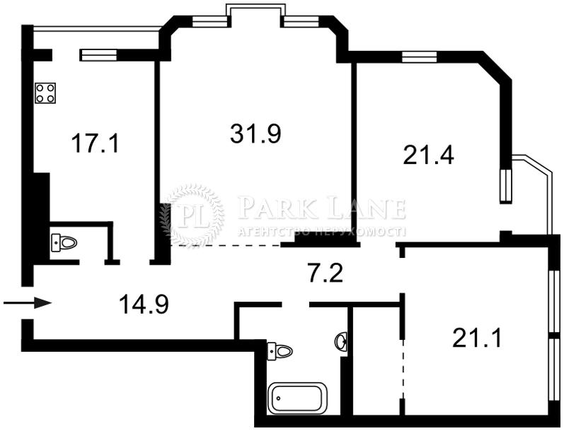 Квартира ул. Коновальца Евгения (Щорса), 32б, Киев, F-7302 - Фото 2